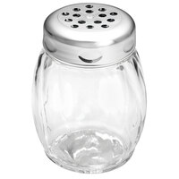 Tablecraft P260CH 6 oz. Clear Tritan Plastic Swirl Shaker with Perforated Chrome-Plated Top   - 12/Case