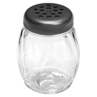 Tablecraft P260BK 6 oz. Clear Tritan Plastic Swirl Shaker with Black Perforated Top - 12/Case
