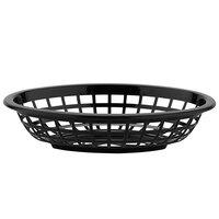 GET OB-734-BK 8 inch x 5 1/2 inch x 2 inch Oval Black Plastic Fast Food Basket - 12/Pack