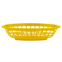 GET OB-734-Y 8 inch x 5 1/2 inch x 2 inch Oval Yellow Plastic Fast Food Basket - 12/Pack