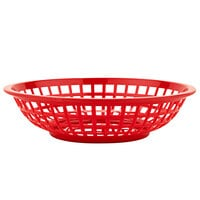 GET RB-820-R 8 inch x 2 inch Round Red Plastic Fast Food Basket - 12/Pack