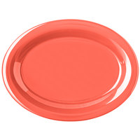 Carlisle 4308252 Durus 12 inch Sunset Orange Oval Melamine Platter - 12/Case