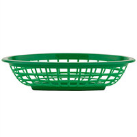 GET OB-734-G 8 inch x 5 1/2 inch x 2 inch Oval Green Plastic Fast Food Basket - 12/Pack