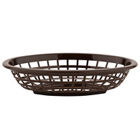 GET OB-734-BR 8 inch x 5 1/2 inch x 2 inch Oval Brown Plastic Fast Food Basket - 12/Pack