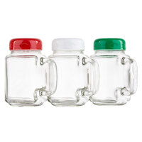 Tablecraft C280A-3 8 oz. Clear Glass Mason Jar Shaker with Assorted Color Plastic Top - 3/Pack
