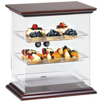 Cal-Mil 814-52 Westport Three Tier Wood Trim Display Case with Rear Door - 17 1/2 inch x 14 inch x 19 1/4 inch
