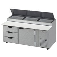 Beverage-Air DPD72HC-3-CL 72 inch 3 Drawer 1 Door Clear Lid Refrigerated Pizza Prep Table