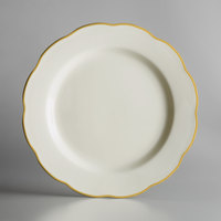 10 3/4 inch Ivory (American White) Scalloped Edge China Plate with Gold Band - 12/Case