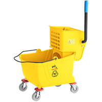 Lavex Janitorial 26 Qt. Yellow Mop Bucket and Side Press Wringer Combo