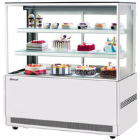 Turbo Air TBP60-54NN-W 59 inch Square Glass Three Tier White Refrigerated Bakery Display Case
