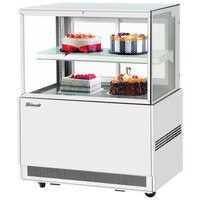 Turbo Air TBP36-46FN-W 35 1/2 inch Square Glass Two Tier White Refrigerated Bakery Display Case with Lift-Up Front Glass