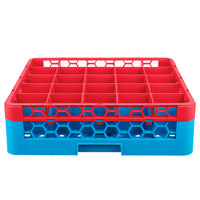 Carlisle RG25-1C410 OptiClean 25 Compartment Red Color-Coded Glass Rack with 1 Extender