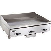Vulcan HEG36E-24C 36 inch Electric Chrome Top Restaurant Griddle with Snap-Action Thermostatic Controls - 208V, 3 Phase, 16.2 kW