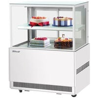 Turbo Air TBP36-46NN-W 35 1/2 inch Square Glass Two Tier White Refrigerated Bakery Display Case