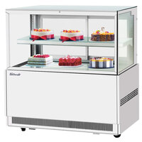 Turbo Air TBP48-46FN-W 47 inch Square Glass Two Tier White Refrigerated Bakery Display Case with Lift-Up Front Glass