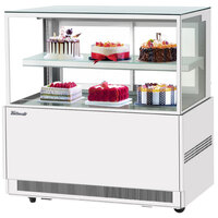 Turbo Air TBP48-46NN-W 47 inch Square Glass Two Tier White Refrigerated Bakery Display Case