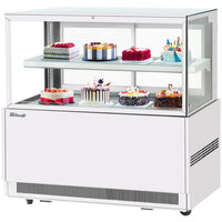 Turbo Air TBP60-46FN-W 59 inch Square Glass Two Tier White Refrigerated Bakery Display Case with Lift-Up Front Glass