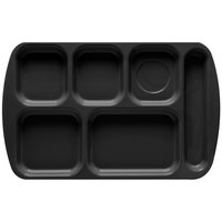 GET TR-151 Black Melamine 10 inch x 15 1/2 inch Right Hand 6 Compartment Tray - 12/Pack