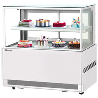 Turbo Air TBP60-46NN-W 59 inch Square Glass Two Tier White Refrigerated Bakery Display Case