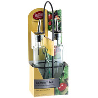Tablecraft H918NBK Gemelli 8.5 oz. Green Tinted Glass Oil and Vinegar Cruet Set with Black Rack