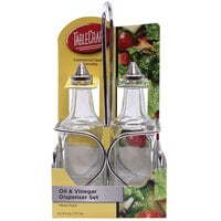 Tablecraft H600N2 European Collection 6 oz. 3 Piece Clear Glass Oil and Vinegar Cruet Set with Chrome Rack