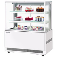 Turbo Air TBP48-54FN-W 47 inch Square Glass Three Tier White Refrigerated Bakery Display Case with Lift-Up Front Glass