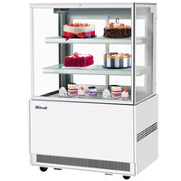 Turbo Air TBP36-54FN-W 35 1/2 inch Square Glass Three Tier White Refrigerated Bakery Display Case with Lift-Up Front Glass