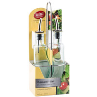 Tablecraft H918N Gemelli 8.5 oz. Green Tinted Glass Oil and Vinegar Cruet Set with Chrome Rack