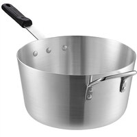 Choice 7 Qt. Tapered Aluminum Sauce Pan with Black Silicone Handle and Helper Handle
