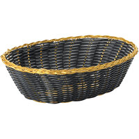 Tablecraft 975B 9 inch x 6 1/2 inch x 2 1/2 inch Oval Black Polypropylene Basket with Metallic Gold Vinyl Trim - 12/Pack