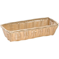 Tablecraft 1116W 9 inch x 3 1/2 inch x 2 inch Rectangle Natural-Colored Polypropylene / Steel Basket - 12/Pack