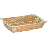 Tablecraft 1187W 10 1/4 inch x 7 1/2 inch x 2 3/4 inch Rectangle Natural-Colored Polypropylene Basket - 12/Pack