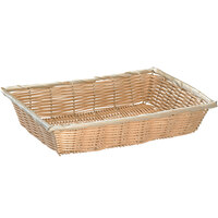 Tablecraft 1188W 14 inch x 10 inch x 3 inch Rectangle Natural-Colored Polypropylene Basket - 6/Pack