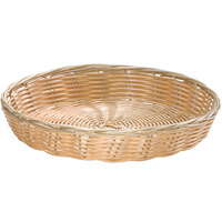 Tablecraft 1169W 10 inch x 1 1/2 inch Round Natural-Colored Polypropylene / Steel Basket - 12/Pack