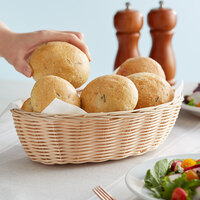 Tablecraft 1176W 10 inch x 6 1/2 inch x 3 inch Oval Natural-Colored Polypropylene / Steel Basket - 12/Pack