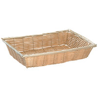 Tablecraft 1192W 18 inch x 12 1/4 inch x 3 inch Rectangle Natural-Colored Polypropylene Basket - 6/Pack