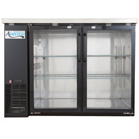 "Avantco UBB-24-48G 48"" Narrow Glass Door Back Bar Cooler with Stainless Steel Top and LED Lighting"