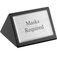 American Metalcraft SIGNMR 3 inch x 1 3/4 inch Black Wood Masks Required Sign - Double-Sided