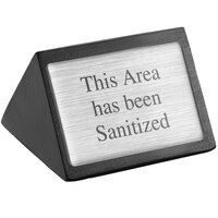 American Metalcraft SIGNAS 3 inch x 1 3/4 inch Black Wood This Area Has Been Sanitized Sign - Double-Sided