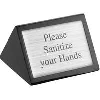 American Metalcraft SIGNSH 3 inch x 1 3/4 inch Black Wood Please Sanitize Your Hands Sign - Double-Sided