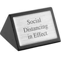 American Metalcraft SIGNSD 3 inch x 1 3/4 inch Black Wood Social Distancing in Effect Sign - Double-Sided