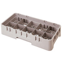 Cambro 10HS434184 Beige Camrack Customizable 10 Compartment 5 1/4 inch Half Size Glass Rack