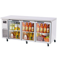 Turbo Air JUR-72-G J Series 72 inch Undercounter Refrigerator with Side Mounted Compressor and Glass Doors - 19 Cu. Ft.
