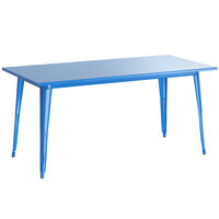 Lancaster Table & Seating Alloy Series 63 inch x 32 inch Blue Dining Height Outdoor Table