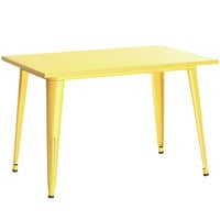 Lancaster Table & Seating Alloy Series 48 inch x 30 inch Yellow Dining Height Outdoor Table