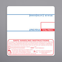 Cas 1478-S/H 58 mm x 60 mm White Safe Handling Pre-Printed Equivalent Scale Label Roll - 12/Case