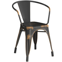 Lancaster Table & Seating Alloy Series Distressed Copper Metal Indoor / Outdoor Industrial Cafe Arm Chair