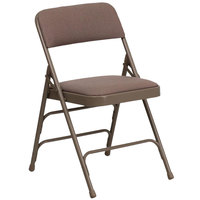 Flash Furniture HA-MC309AF-BGE-GG Beige Metal Folding Chair with 1 inch Padded Fabric Seat