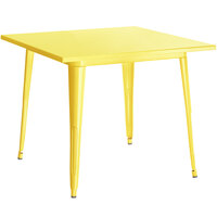Lancaster Table & Seating Alloy Series 32 inch x 32 inch Yellow Dining Height Outdoor Table