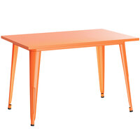 Lancaster Table & Seating Alloy Series 48 inch x 30 inch Orange Dining Height Outdoor Table